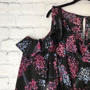 Lane Bryant Dresses - Lane Bryant Black Midi Dress Cold Shoulder Ruffle